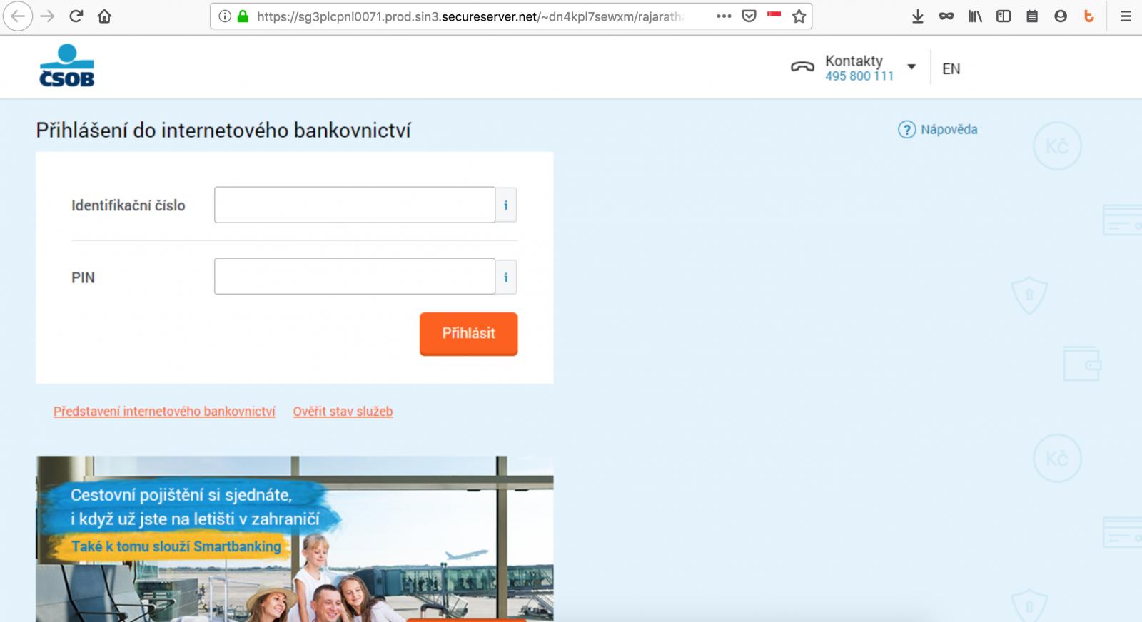Opět phishing na klienty ČSOB
