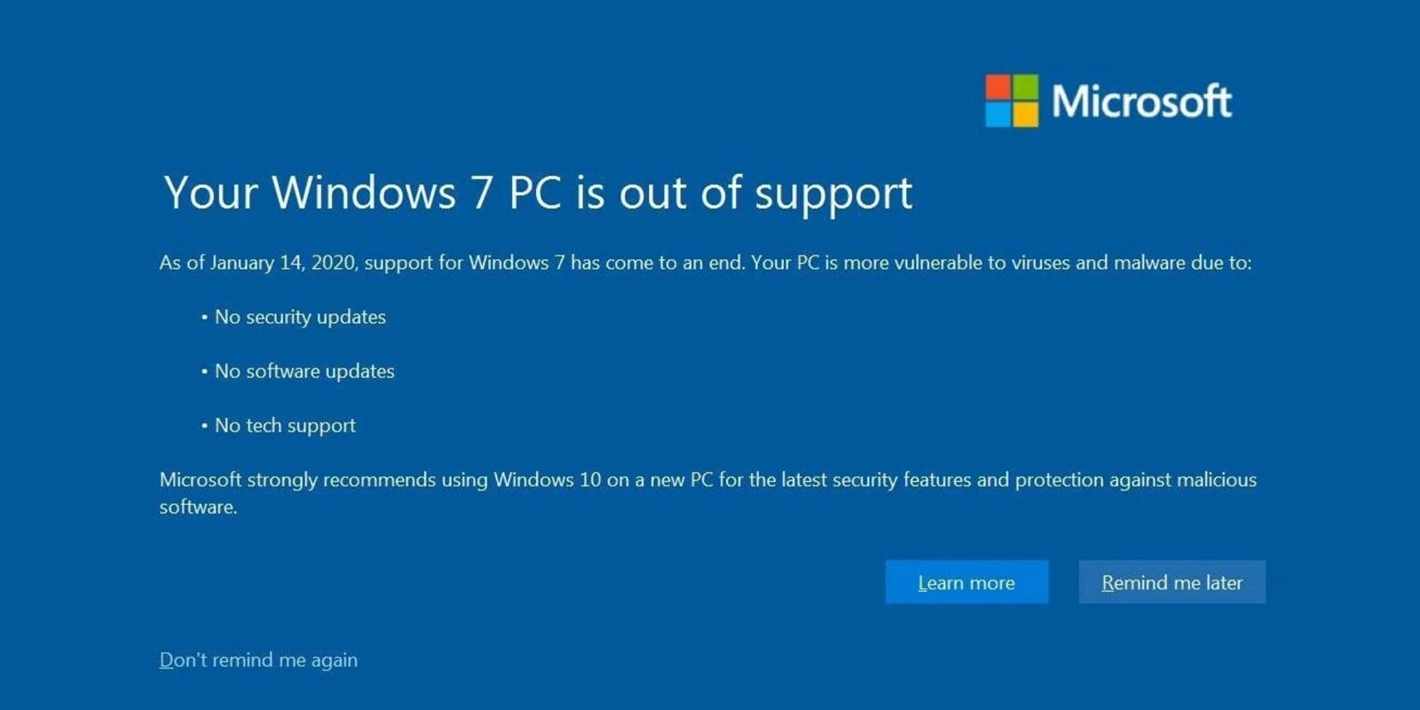 Dnes končí podpora Windows 7